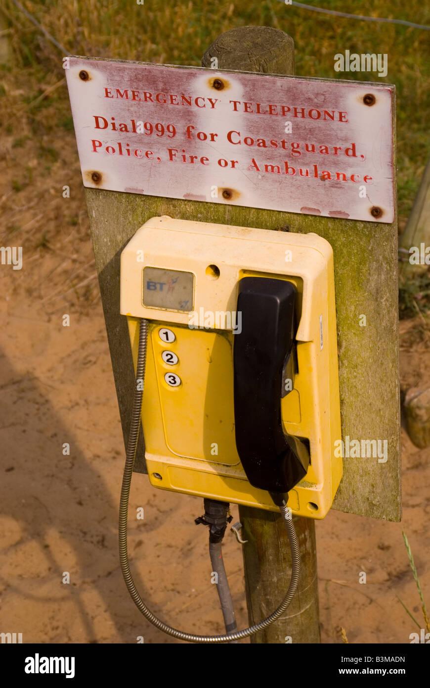 Emergency telephone for coastguard police  fire or ambulance - Stock Image