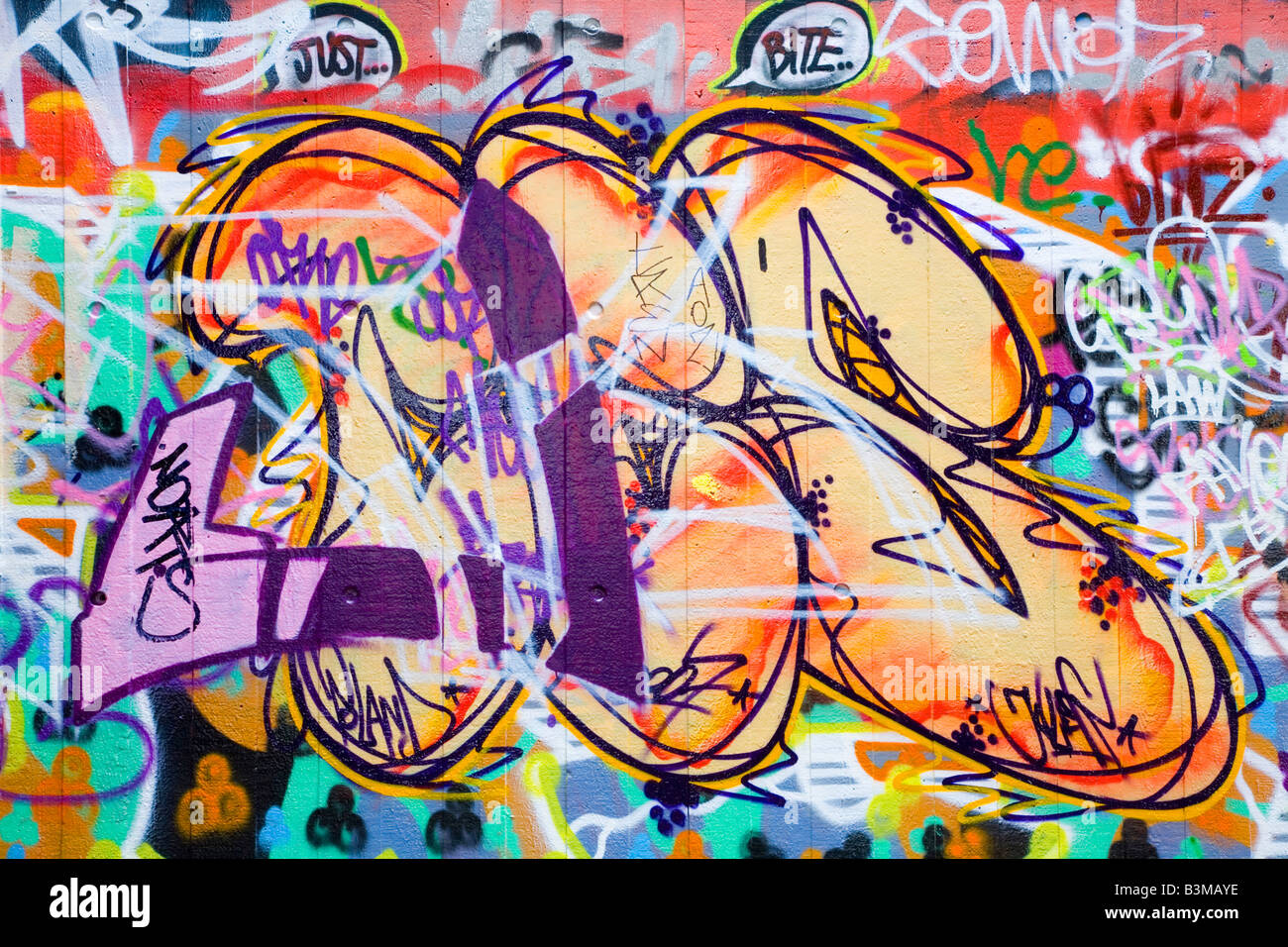 Graffiti or tag on a wall ideal for an urban theme - Stock Image