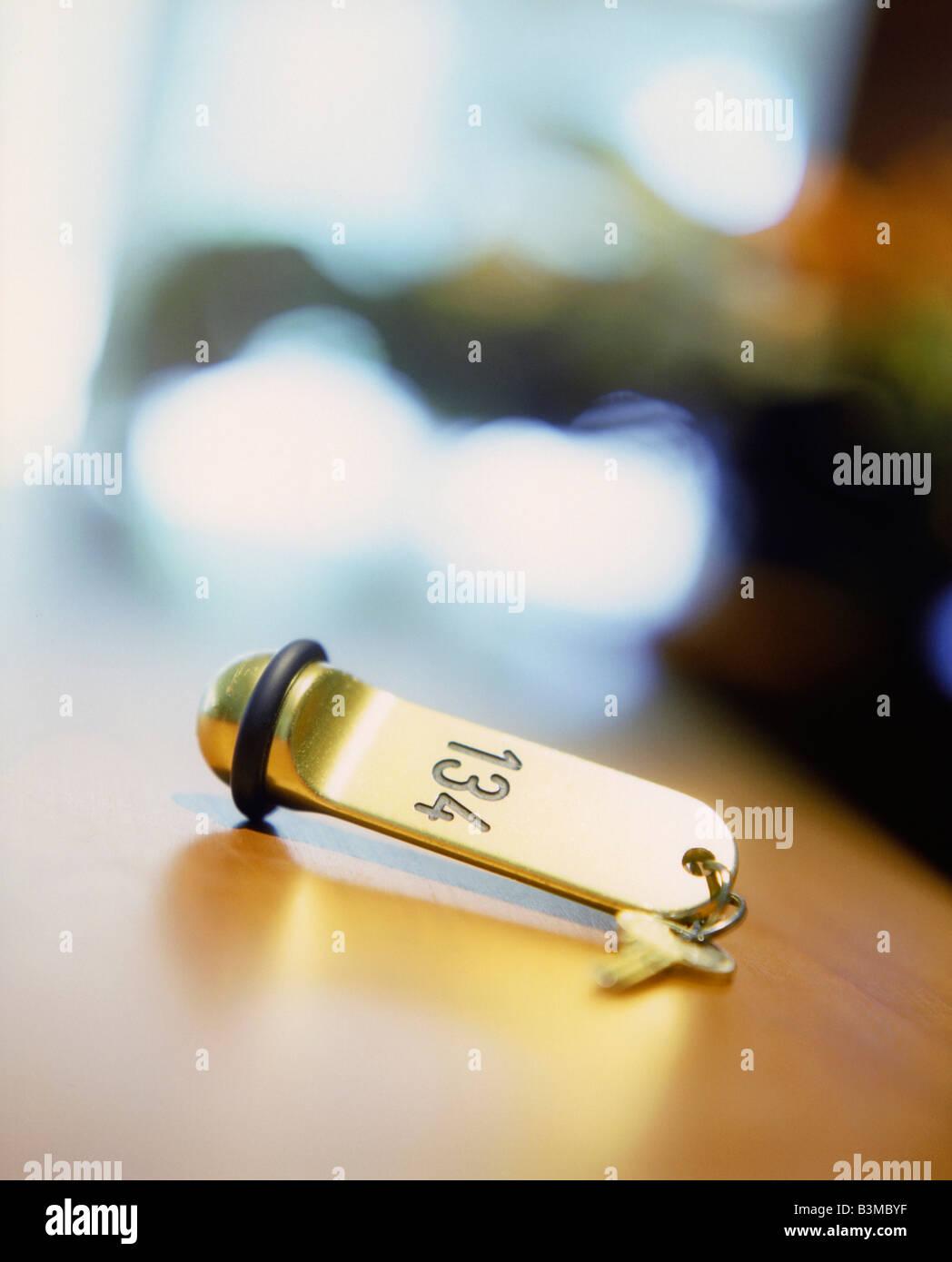Hotel key, close-up - Stock Image