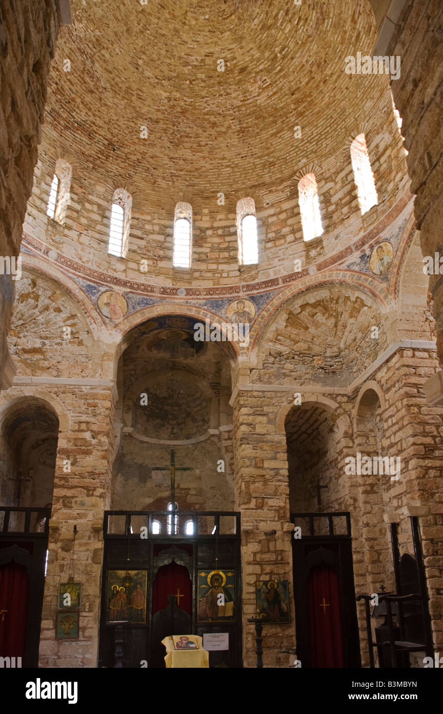 The interior of Agia Sofia church above the old Byzantine town of Monemvasia in Lakonia Southern Peloponnese Greece Stock Photo