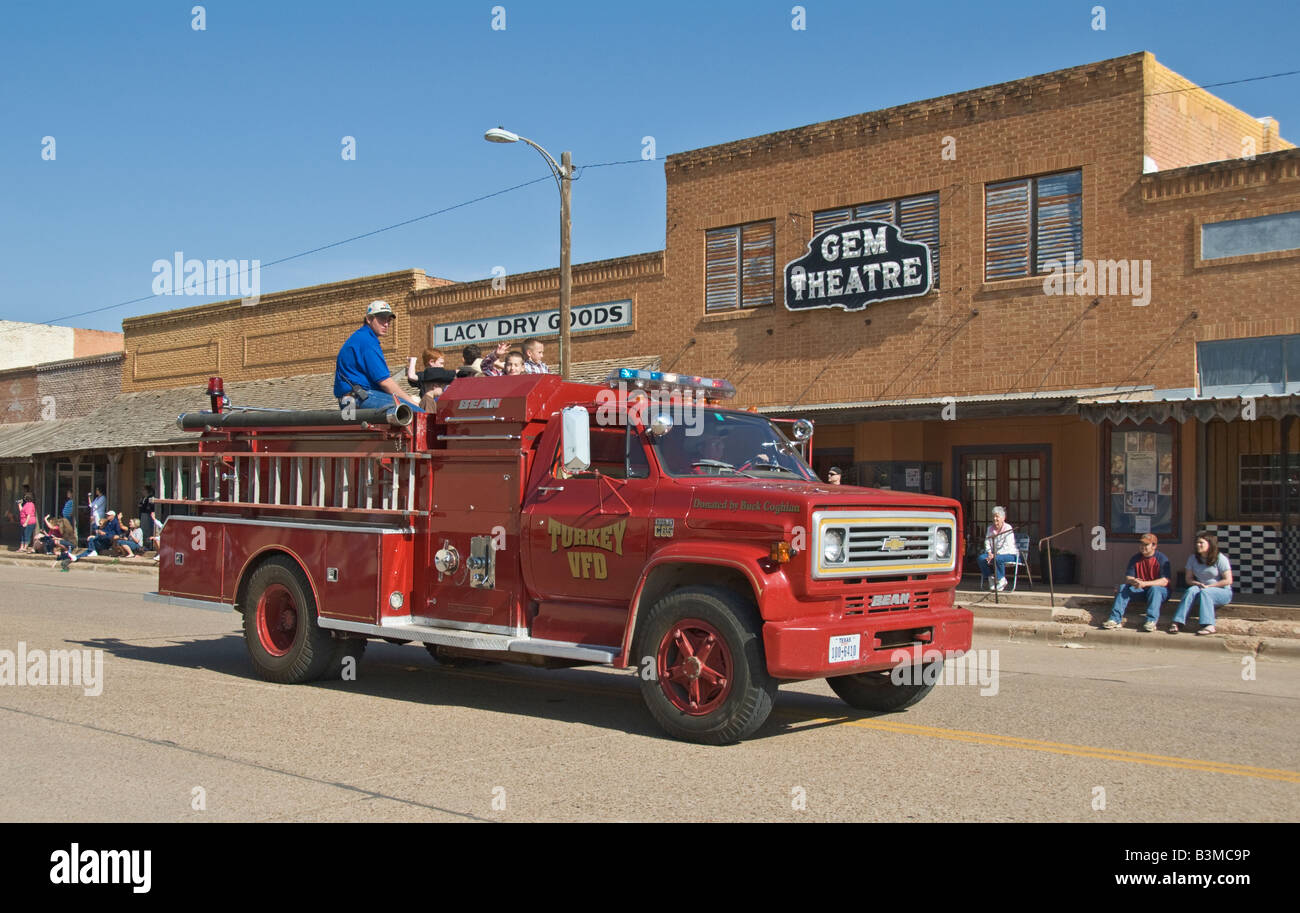 Texas Turkey annual Bob Wills Day celebration downtown parade Volunteer Fire Department truck - Stock Image