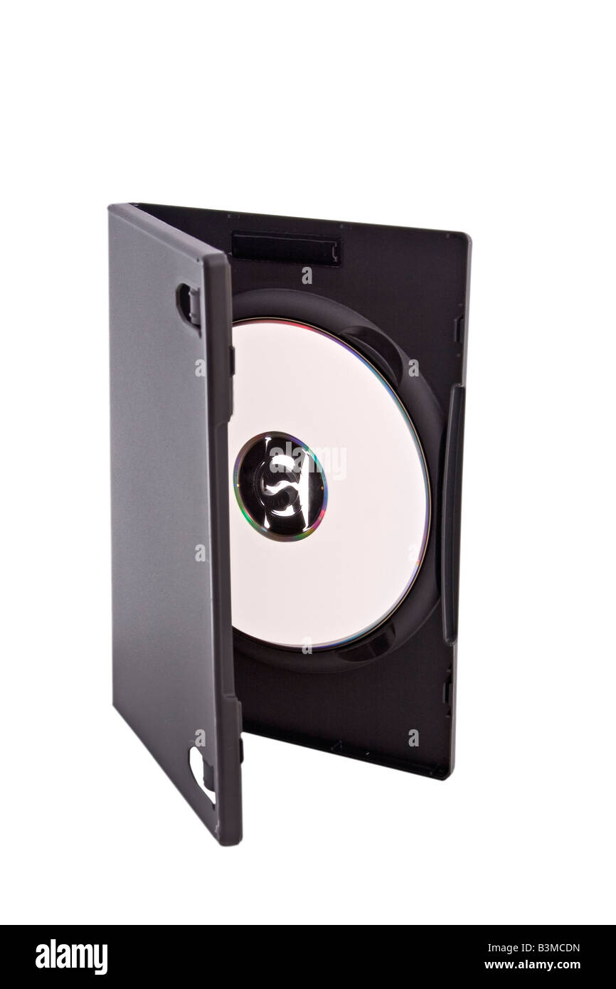 open dvd or cd case with blank disk Stock Photo