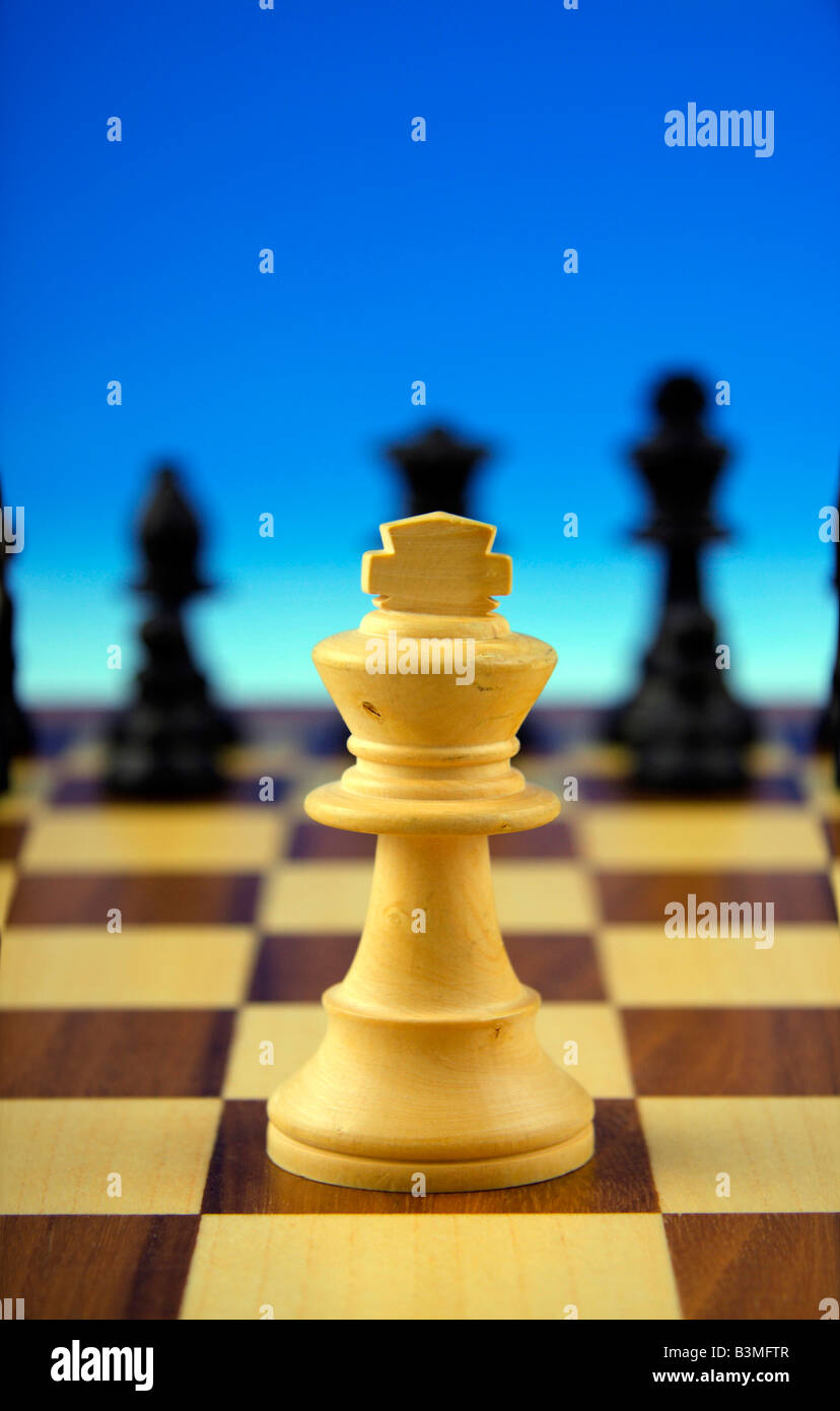 king on chessboard symbolism for strategy and its practicality in view of various interest groups - Stock Image