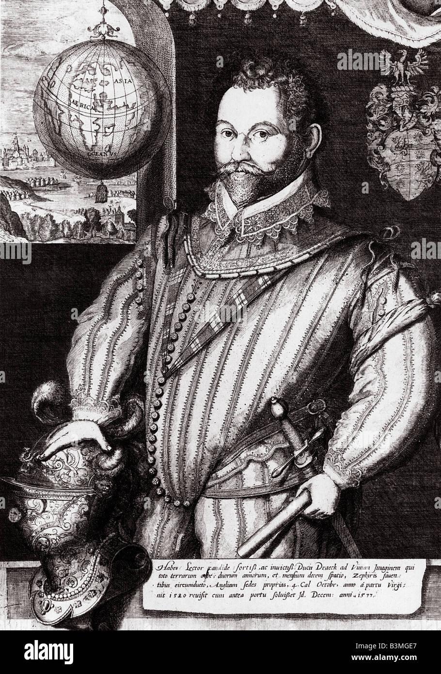 SIR FRANCIS DRAKE English navigator c 1540 to 1596 - Stock Image