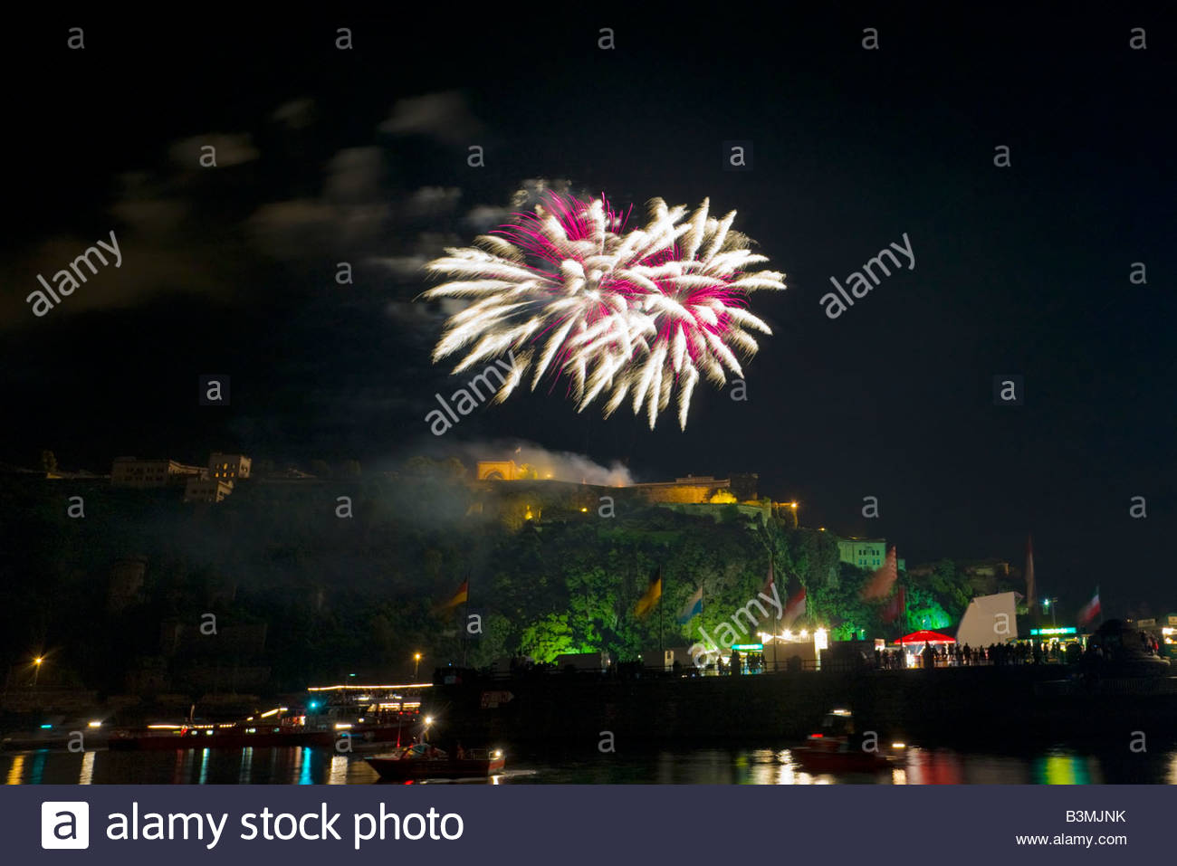 Rhine in Flames festival fireworks explosion lights illumination tourist attraction view Koblenz Rhine Moselle river - Stock Image