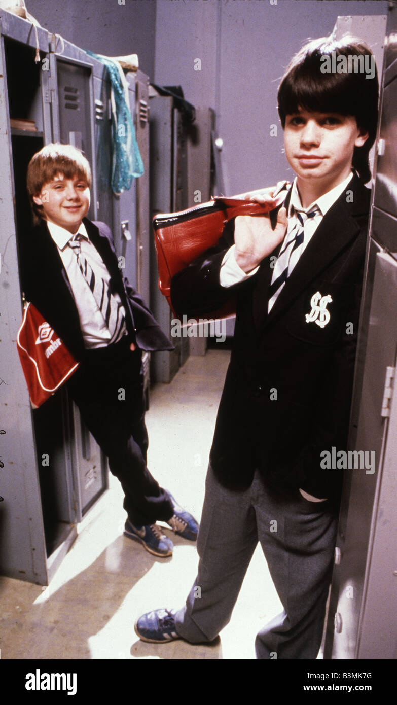 GRANGE HILL  UK TV series with John Alford at left as Robbie and George Christopher as Ziggy - Stock Image