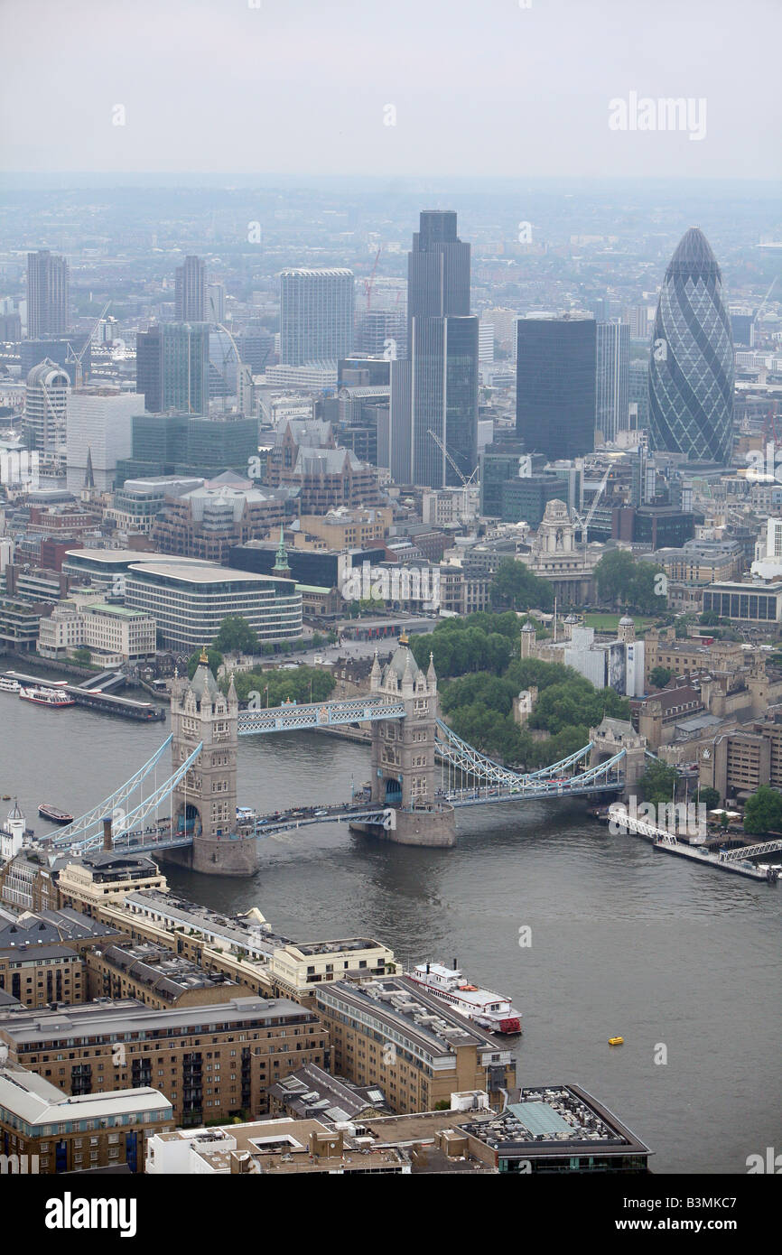 Aerial view looking North West across the City of London including SwissRe Ghurkin Tower 42, Tower Bridge Tower - Stock Image