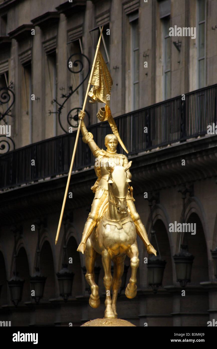 France Paris Statue of Joan of Arc in Paris - Stock Image