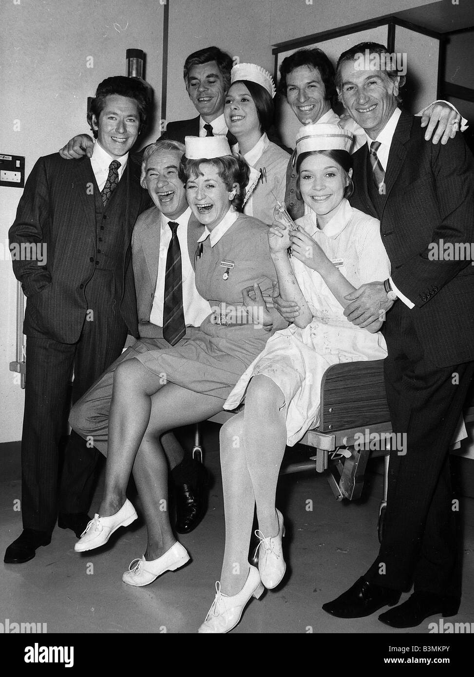 General Hospital television programme cast members 1972 Seated Left to Right Ronald Leigh Hunt Peggy Sinclair and - Stock Image