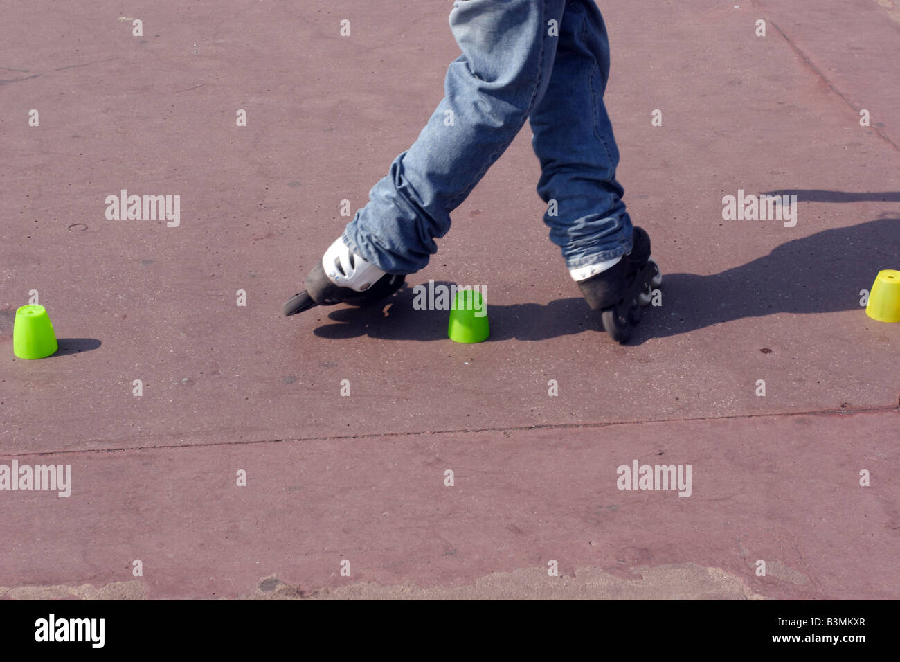 France Cote d Azur Nice Roller blader performing tricks on Promenade des Anglais in Nice Stock Photo