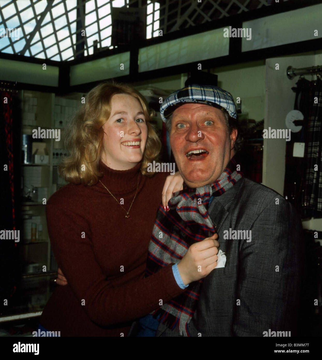 Tommy Cooper wearing tartan hat and scarf 1970 s - Stock Image