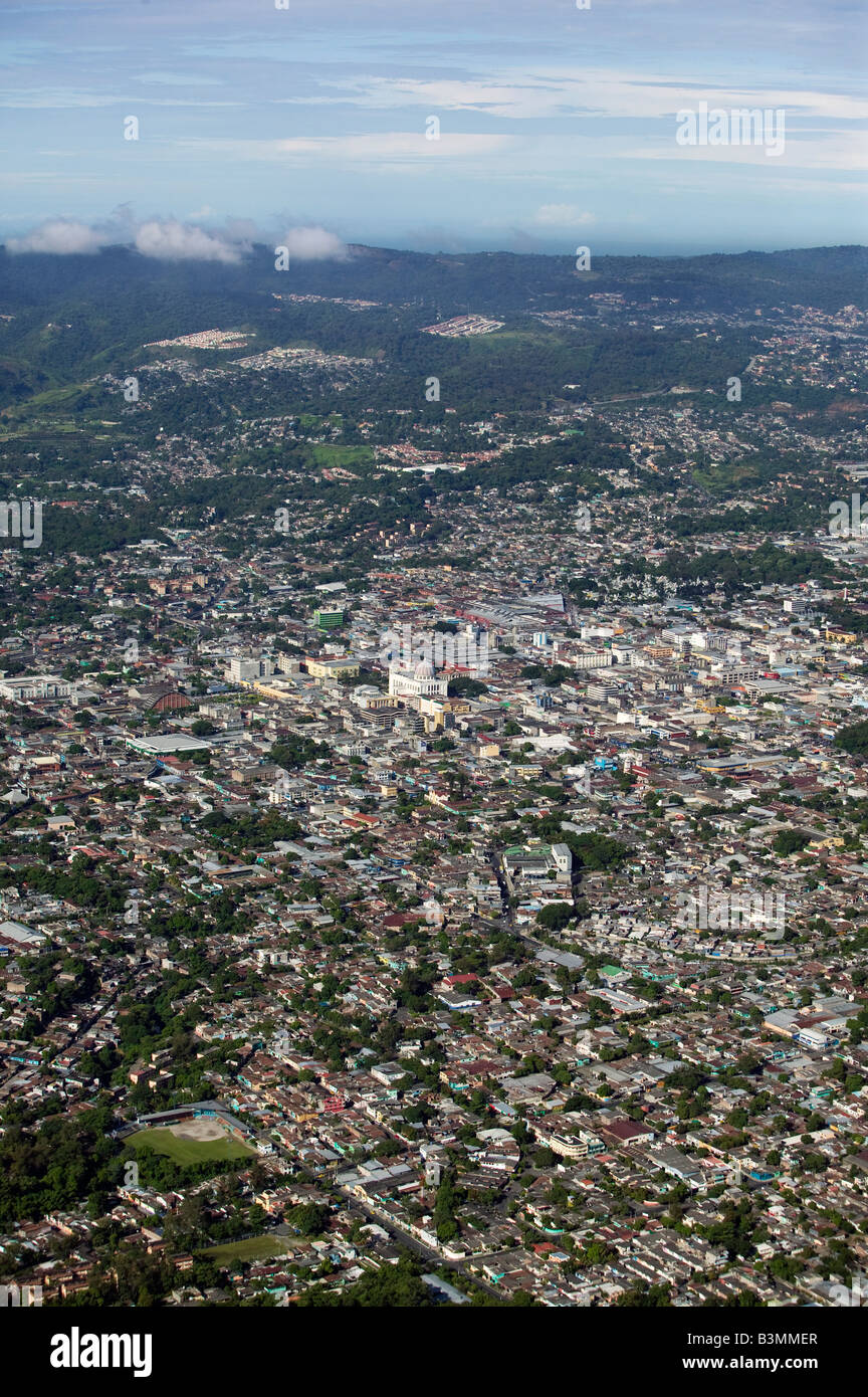aerial above San Salvador, El Salvador central Latin America Stock Photo