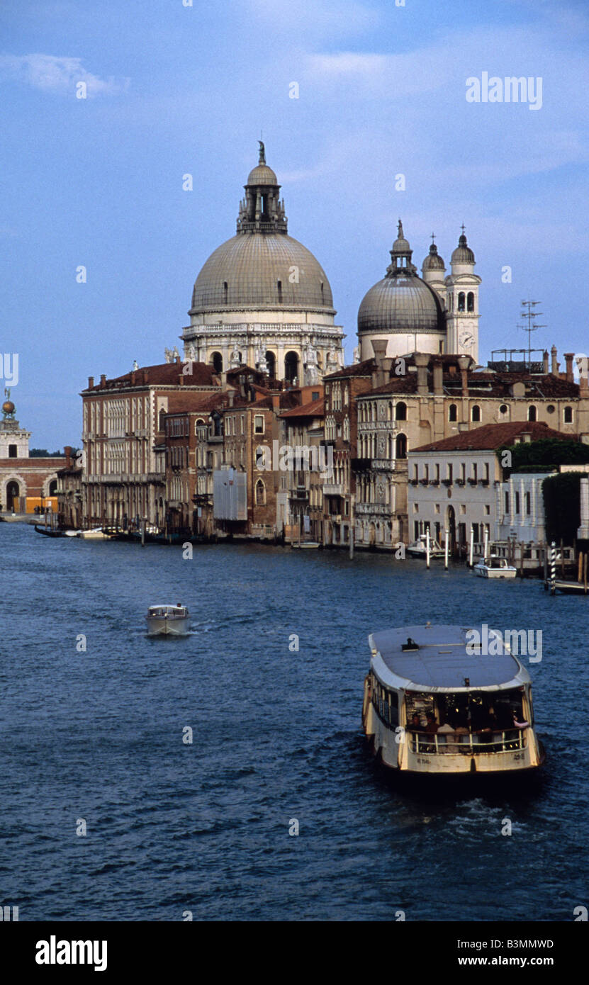 Italy Venice Looking along the Grand Canal towards the Chiesa di Santa Maria della Salute - Stock Image