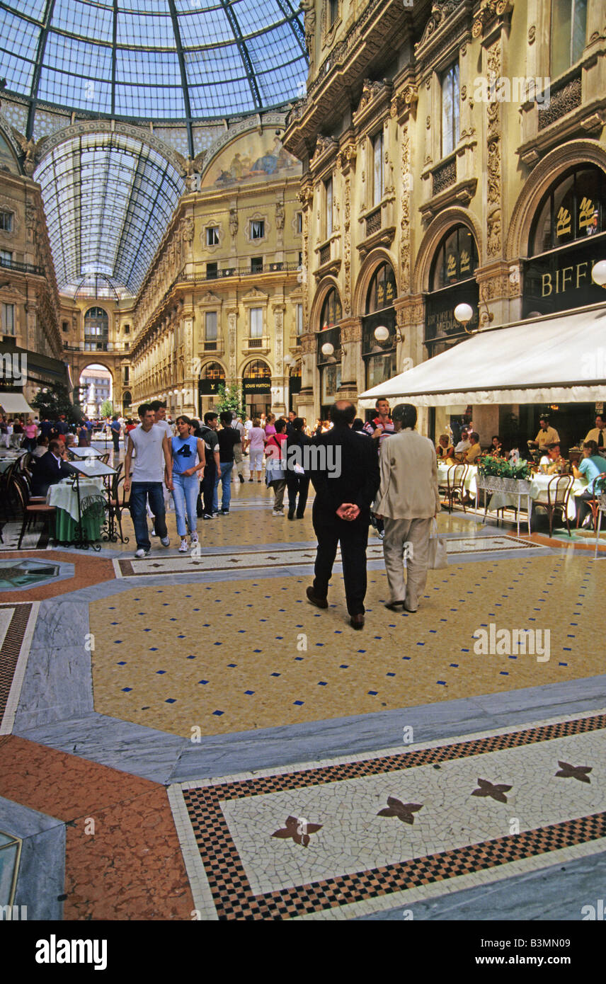 Italy Milan Galleria Vittorio Emanuele II is a unique shopping complex in Milan - Stock Image