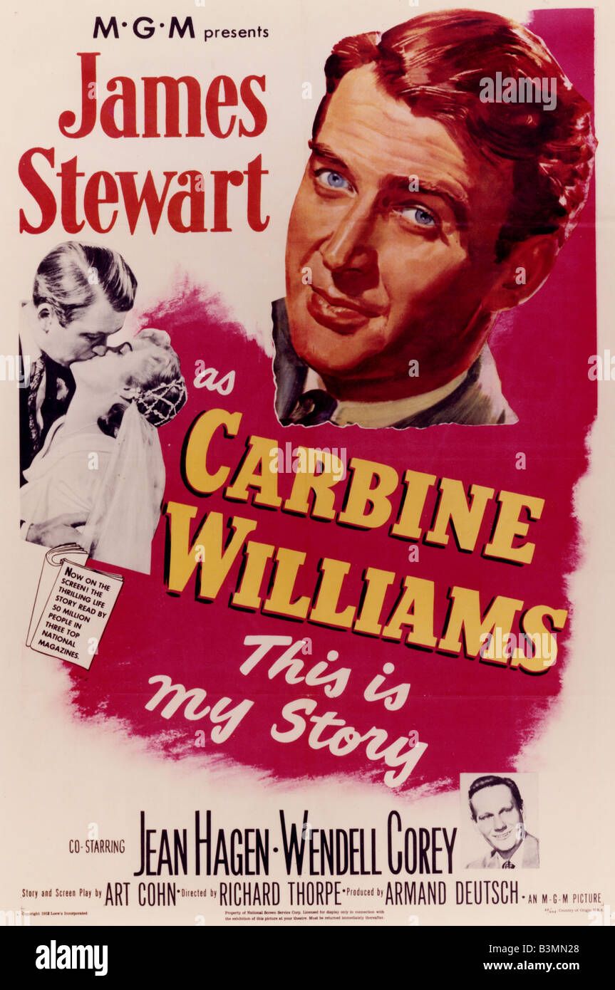 CARBINE WILLIAMS Poster for 1952 MGM film with James Stewart - Stock Image
