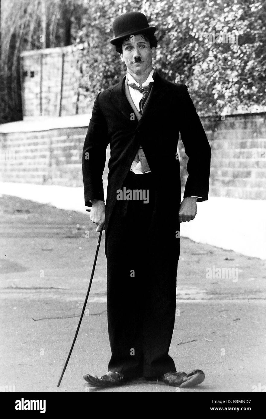 Peter Duncan TV presenter who was on Blue Peter on Childrens TV in the eighties pictured dressed as Charlie Chaplin - Stock Image