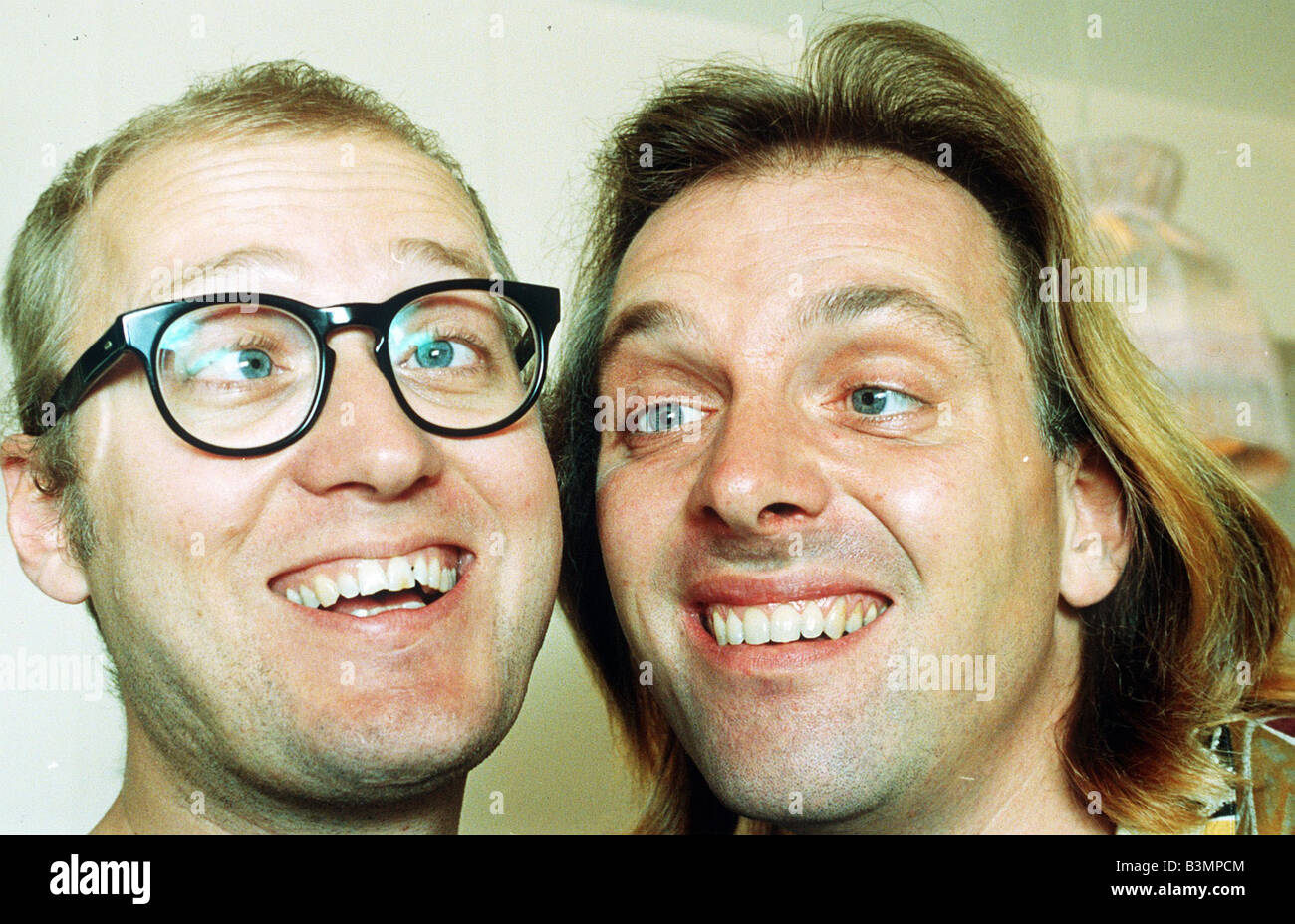 Rik Mayall and Adrian Edmondson comedians comedy television bottom series - Stock Image