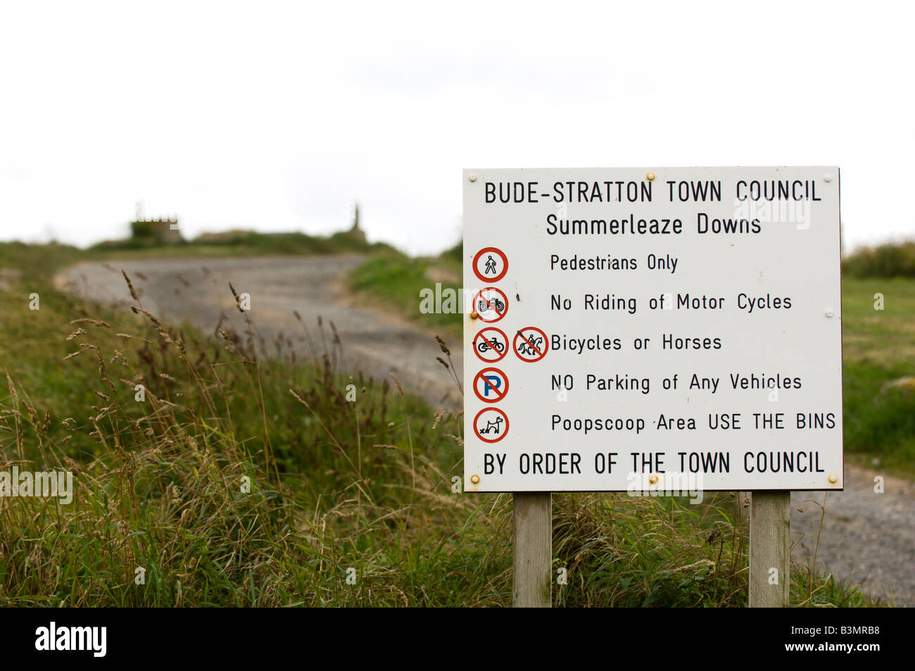 Sign at Bude Cornwall Great Britain Europe - Stock Image
