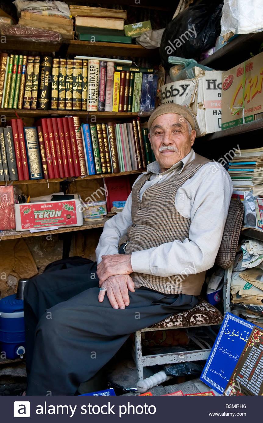 Book Seller In The Mardin Turkey Marketplace - Stock Image