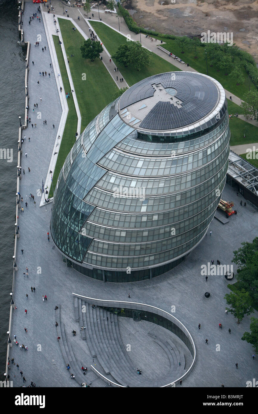 City Hall is home to the Mayor of London, the London Assembly and the GLA. Aerial view - Stock Image