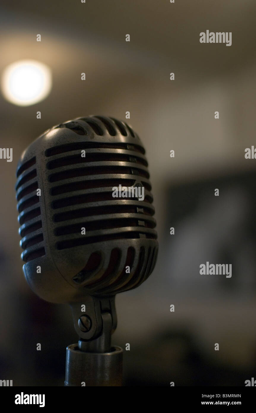 Old fashioned, rock'n'roll, 50s style, microphone. - Stock Image