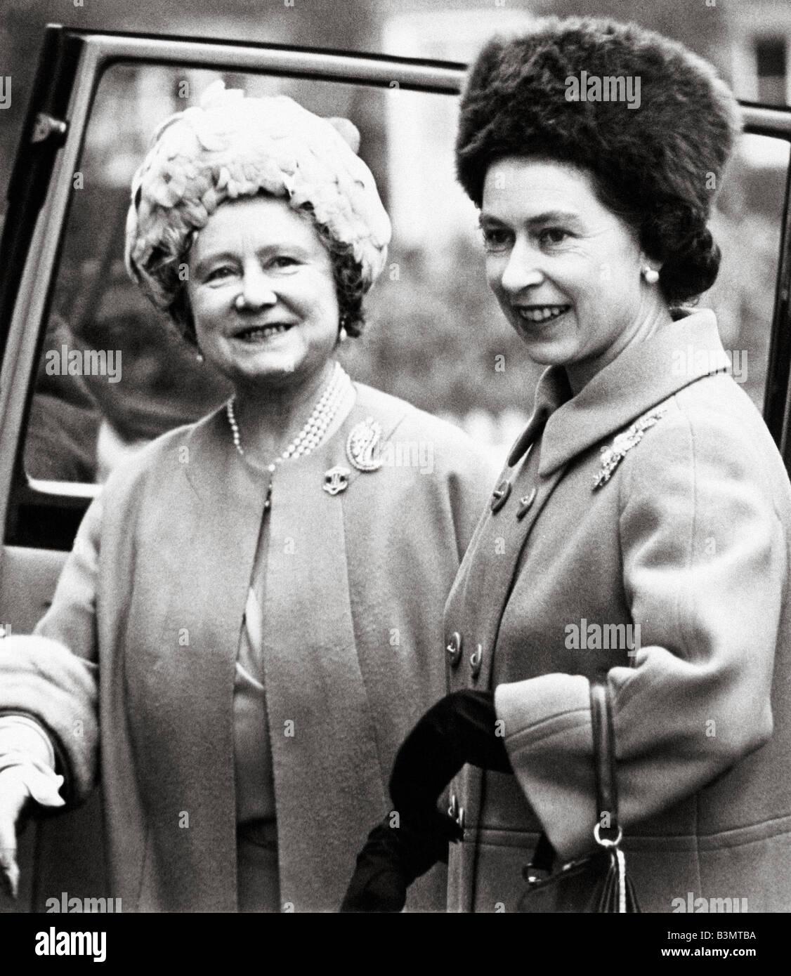 QUEEN ELIZABETH  II  and the Queen mother in 1968 - Stock Image