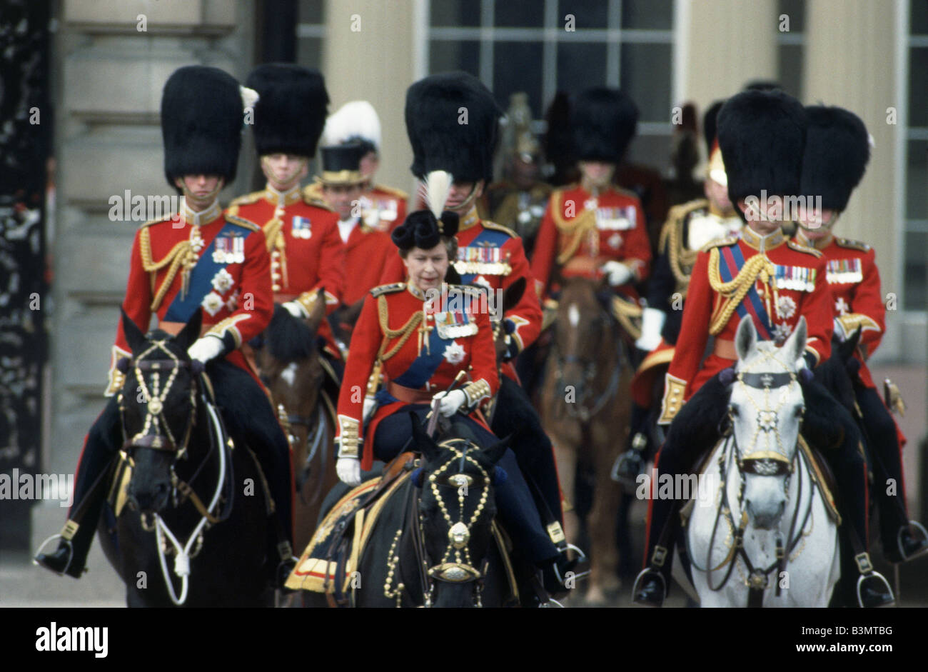 QUEEN ELIZABETH II   at Trooping the Colour in 1984 - Stock Image
