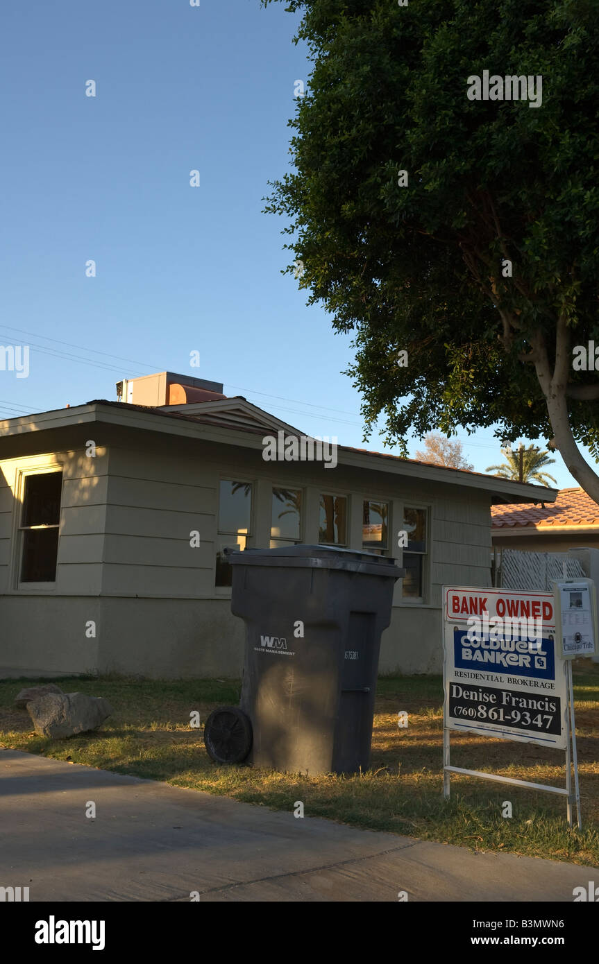 House in Indio Southern California owned by the bank due to mortgage failure subrpime crisis - Stock Image