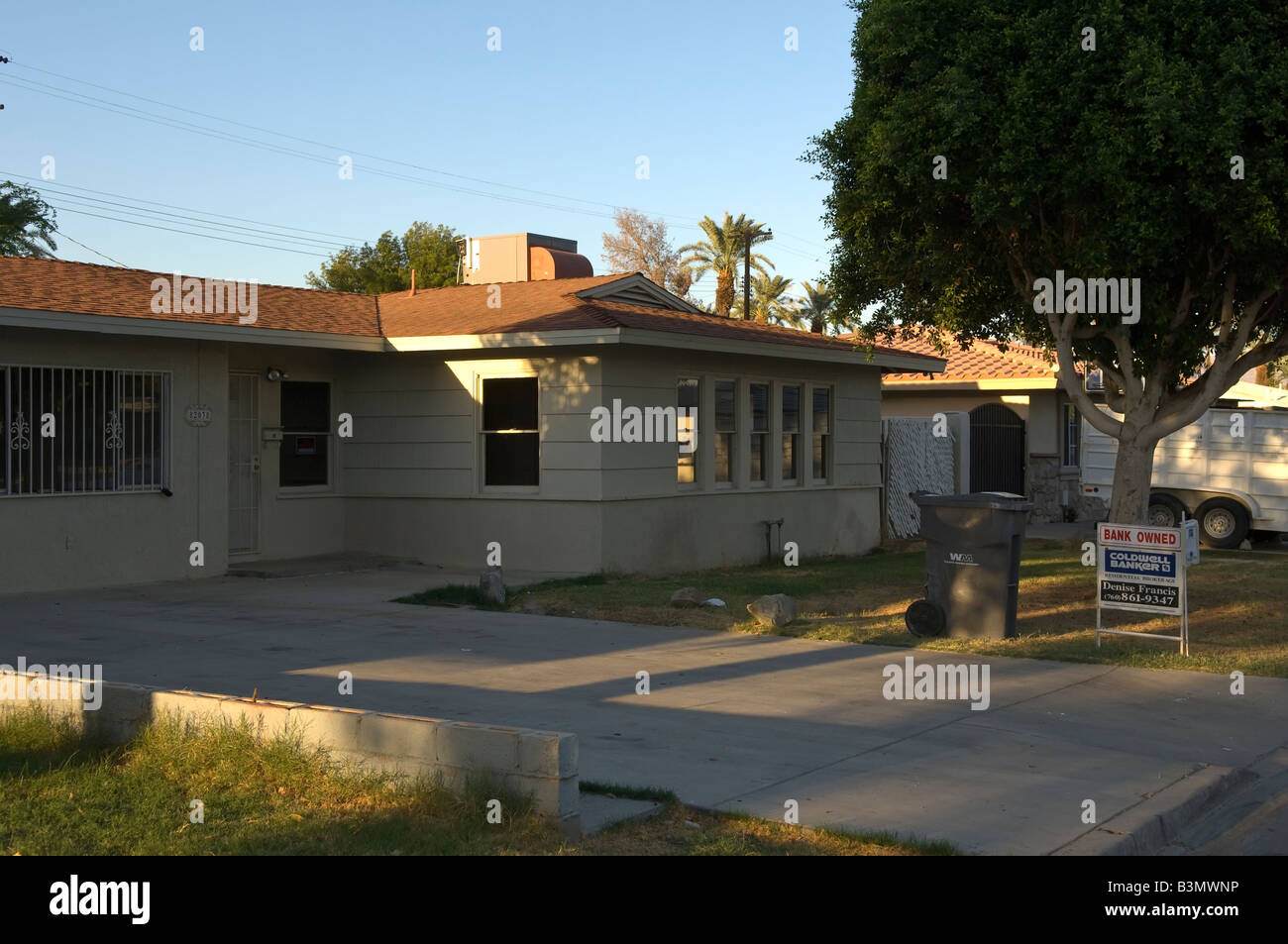 House in Indio Southern California owned by the bank due to mortgage failure, subprime crisis - Stock Image