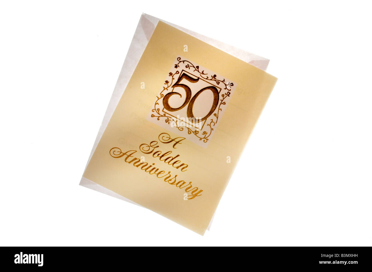 50th anniversary card and envelope on white - Stock Image
