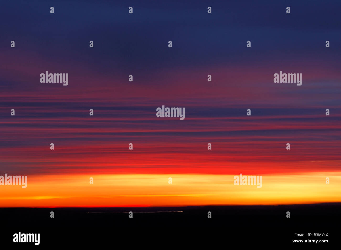 Sky with afterglow - Stock Image