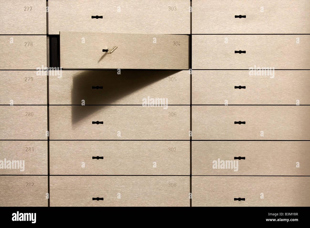 Open safety deposit box Stock Photo