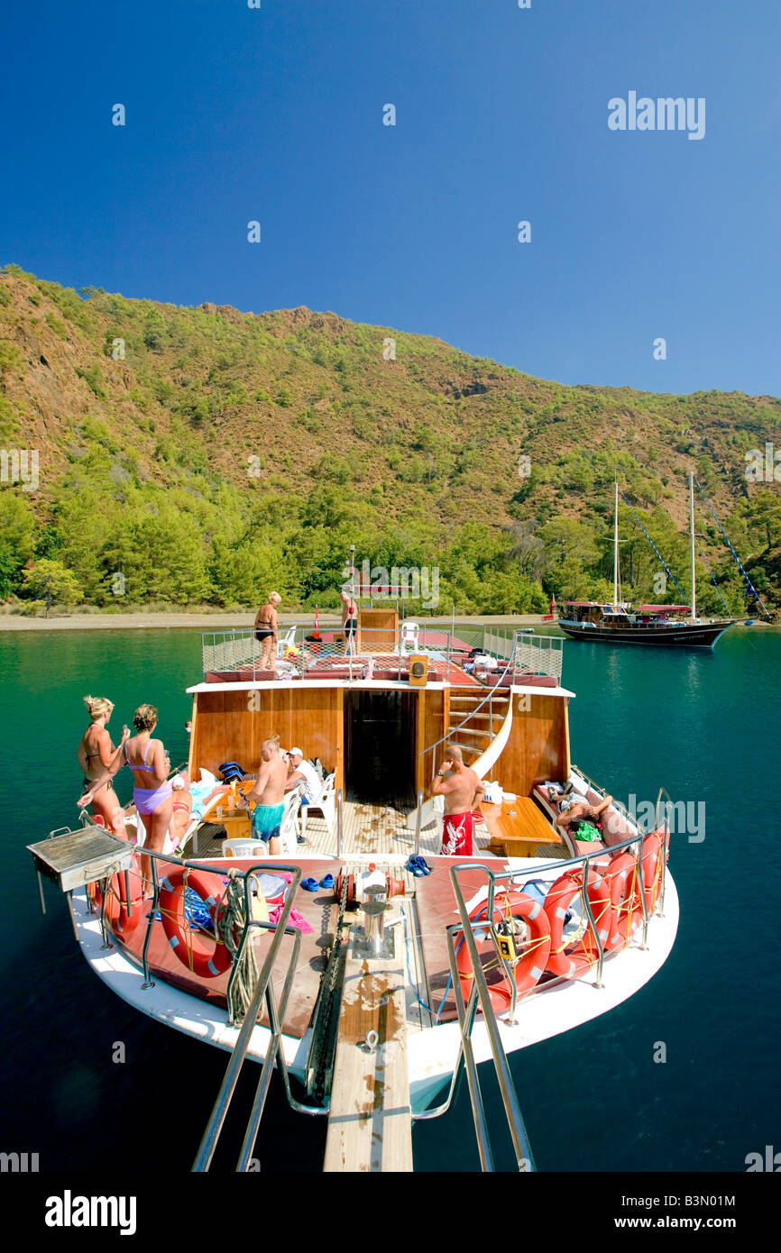Gullet boat trip Turkey - Stock Image