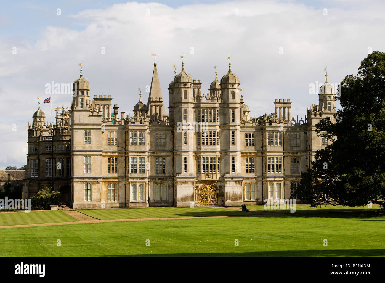 Burghley House near Stamford in Lincolnshire UK is home to the Burghley Horse Trials - Stock Image