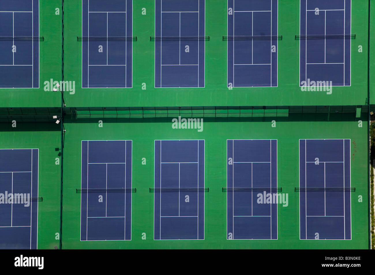 aerial above tennis courts - Stock Image
