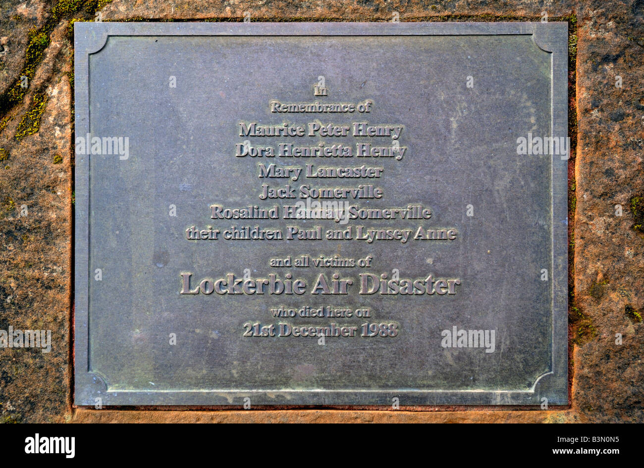 Plaque on memorial to the Lockerbie Air Disaster, 1988. Sherwood Crescent, Lockerbie,  Dumfries and Galloway, Scotland, - Stock Image