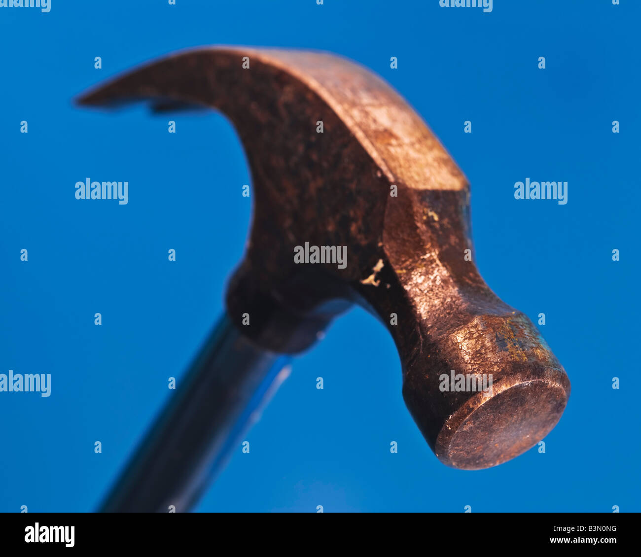 Image of the head of a well used claw hammer against a blue background poised to drop - Stock Image
