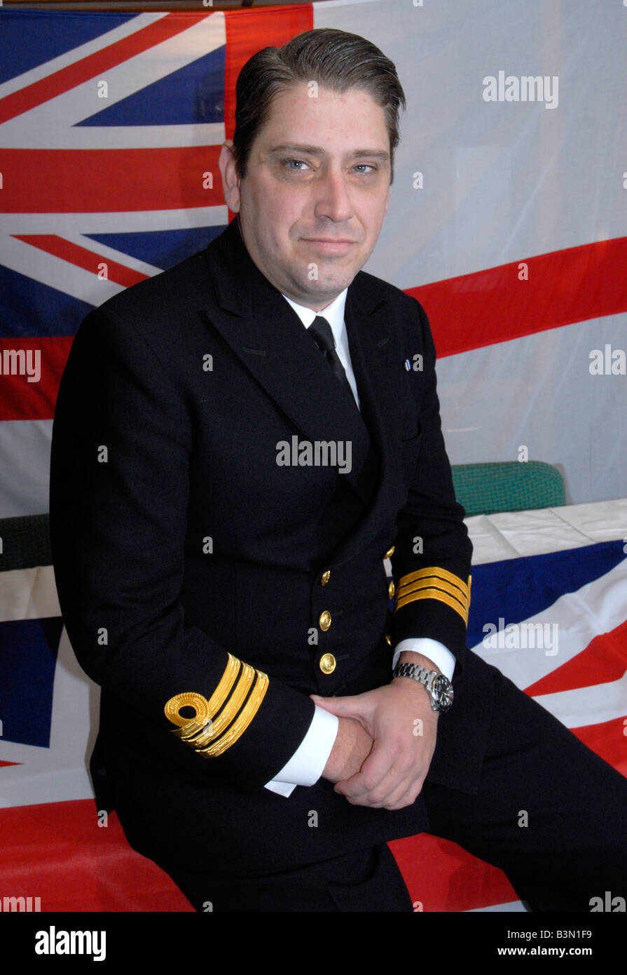 Captain of the ship Cdr Mike Utley Type 23 'Duke Class' Frigate 'HMS Portland' - Stock Image