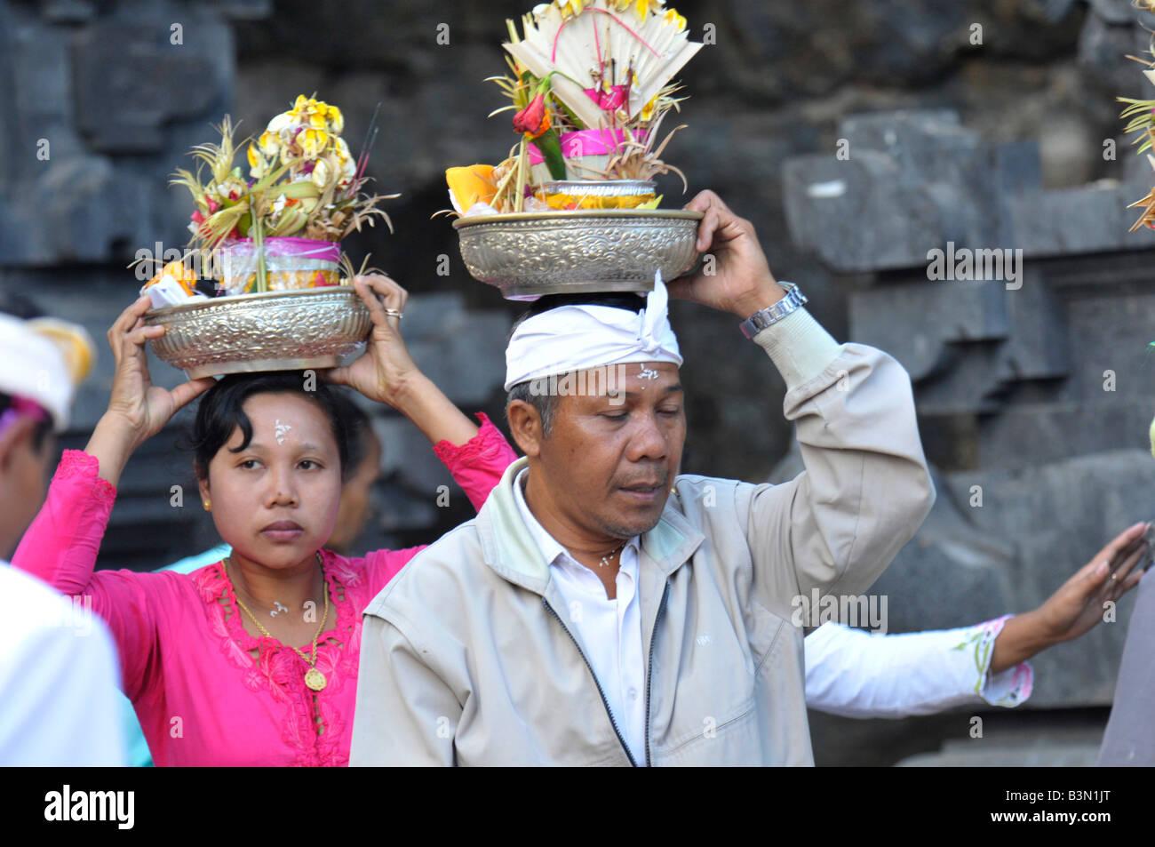People Heading Towards Mountain Temple Sawah Village