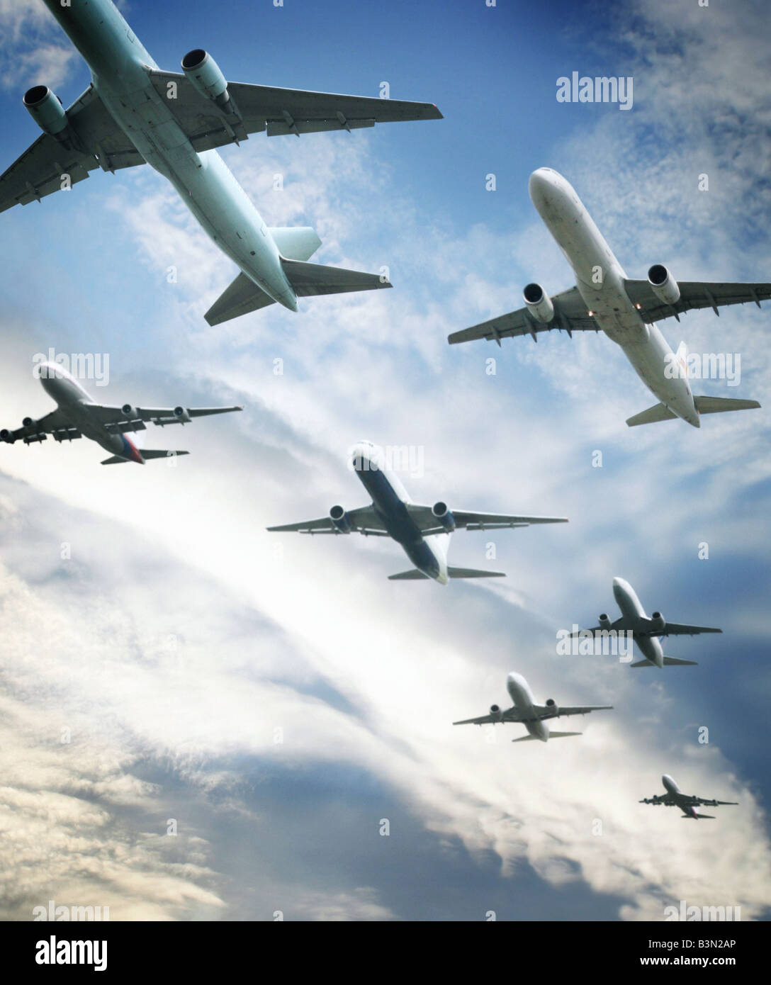 aeroplanes in flight - Stock Image