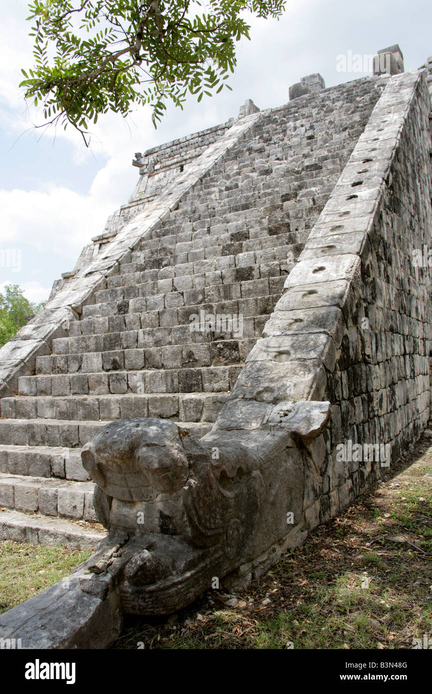 The Ossuary or Tomb of the High Priest Chichen Itza Archaeological Site Chichen Itza Yucatan Peninsula Mexico Stock Photo