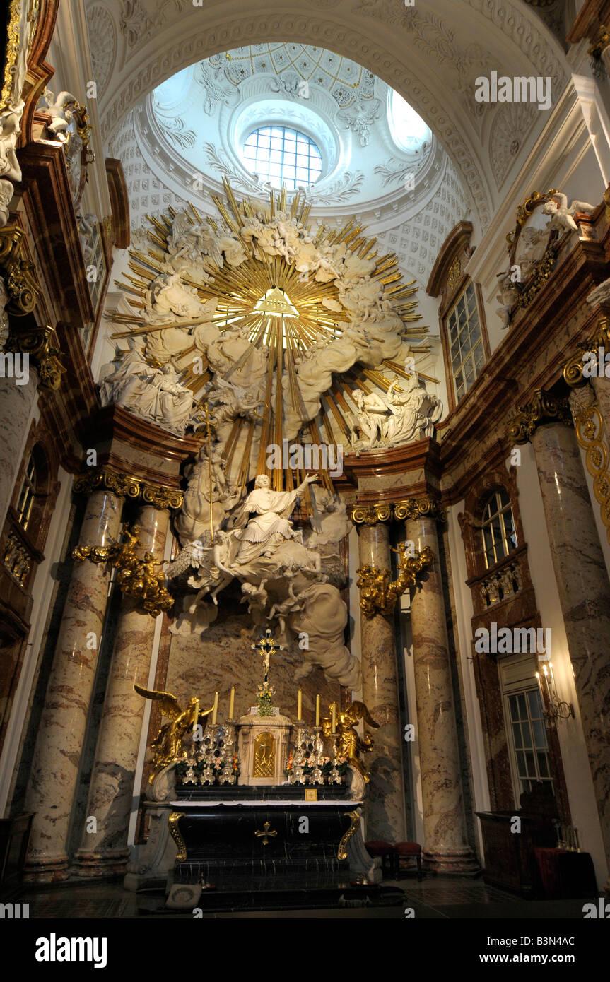 Interior St Charles or Karls Kirche church, Vienna, Austria - Stock Image