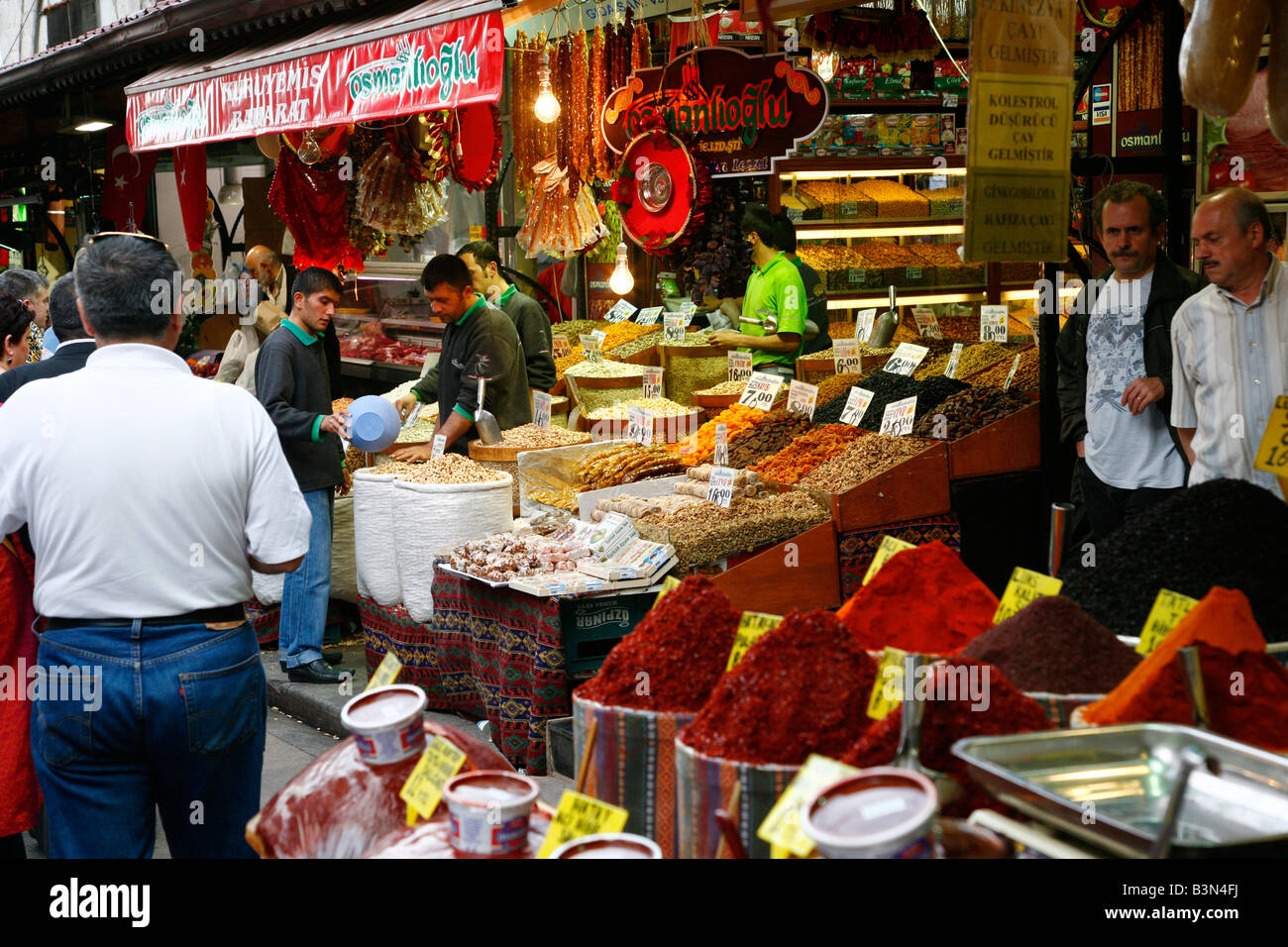 May 2008 - Spice shop at the Spice Bazaar Istanbul Turkey - Stock Image