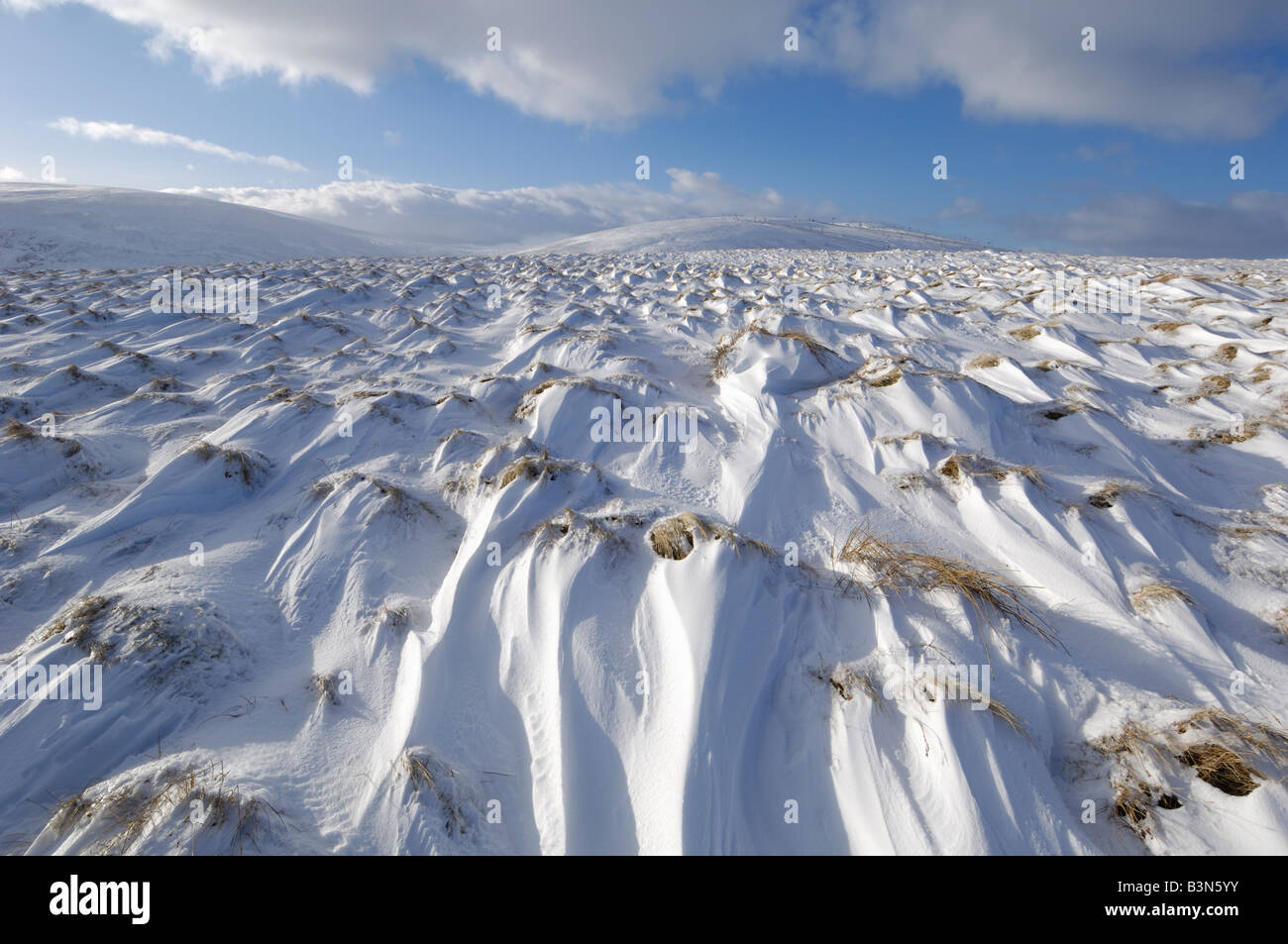 Cairngorm Mountains in winter snow, near Lecht Ski Area, Tomintoul, Highlands, Scotland - Stock Image