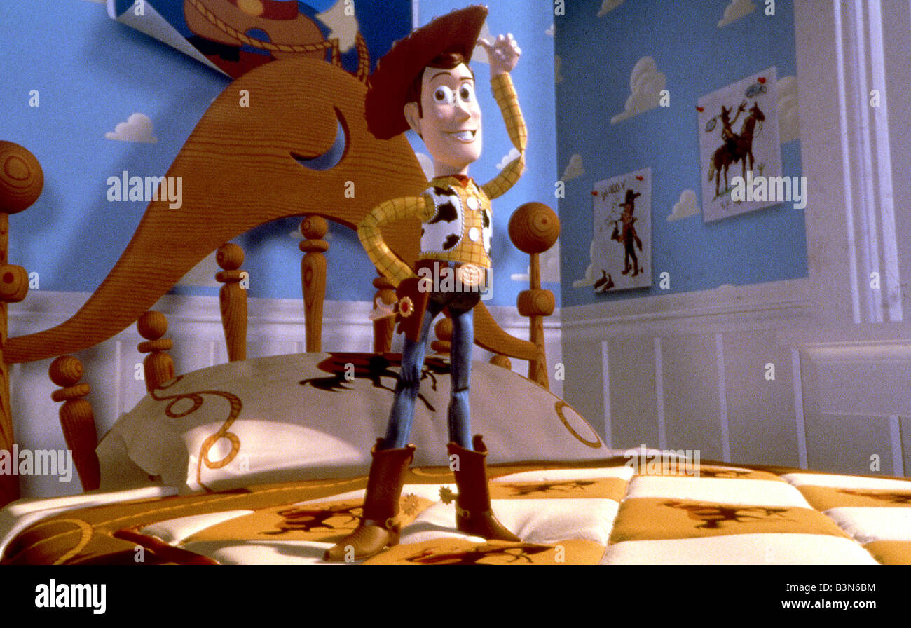 TOY STORY 1995 Buena Vista/Walt Disney/Pixar animated film with Woody voiced by Tom Hanks - Stock Image