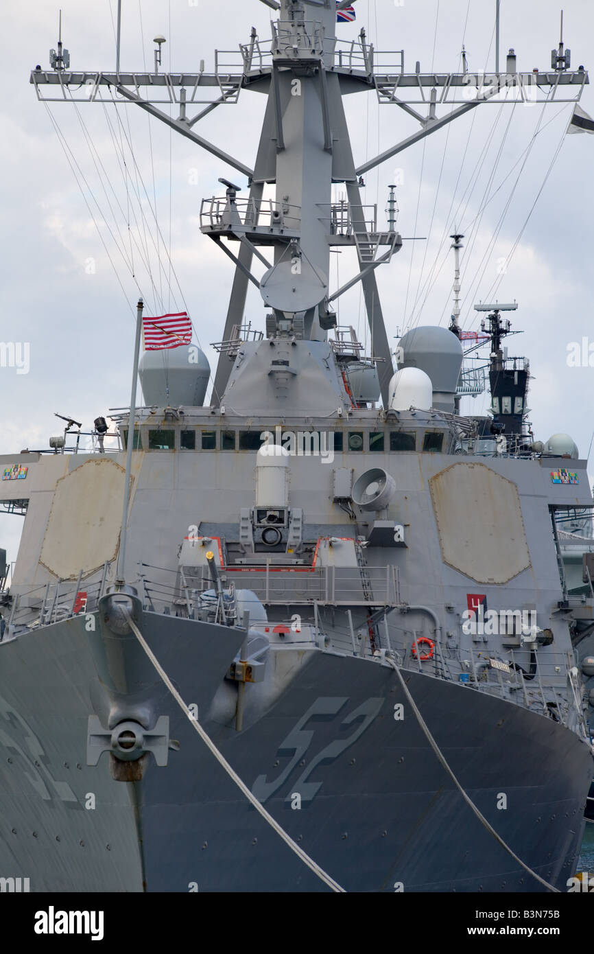USS Barry DDG 52 an Arleigh Burke class guided missile destroyer docked in Portsmouth UK Stock Photo