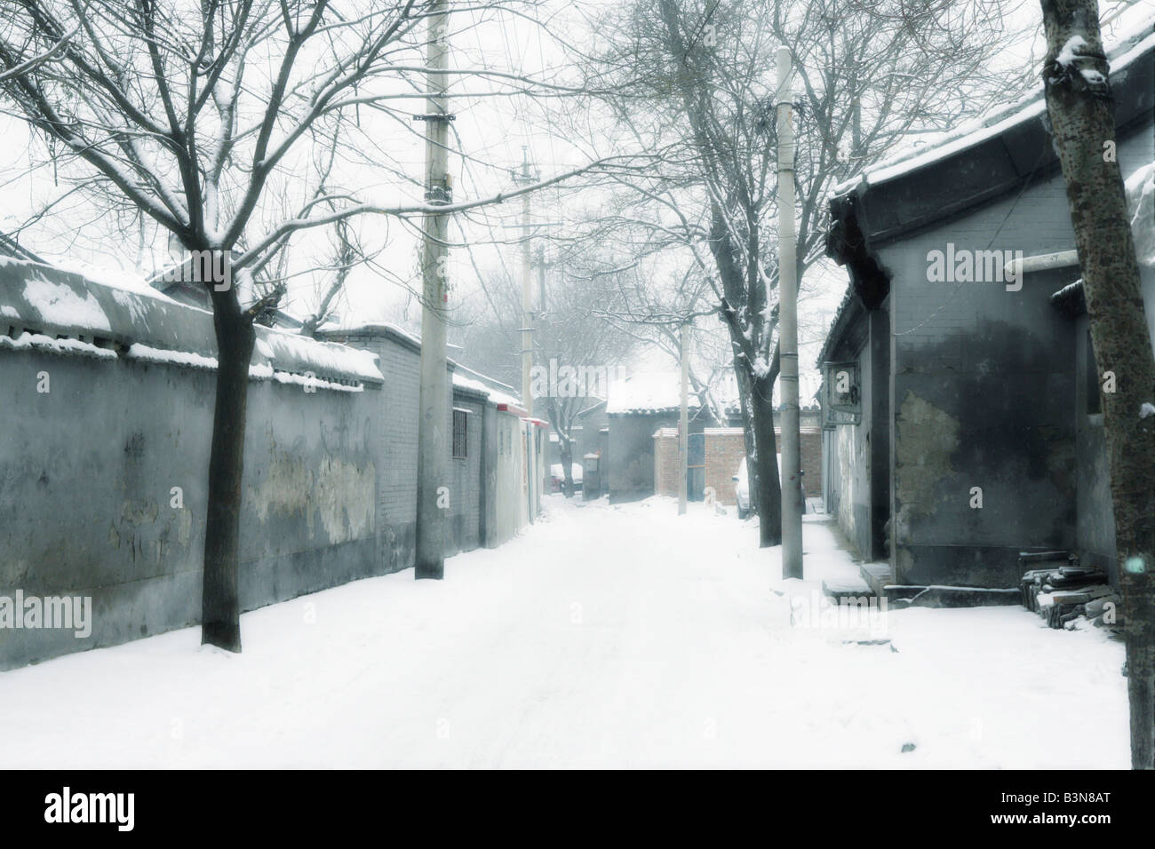 beijing hutong in winter,china - Stock Image