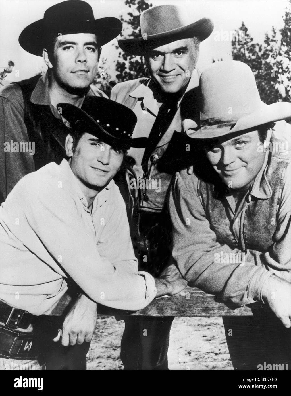 BONANZA US TV series with clockwise from top left: Michael Landon, Lorne Greene, Dan Blocker and Adam Cartwright Stock Photo