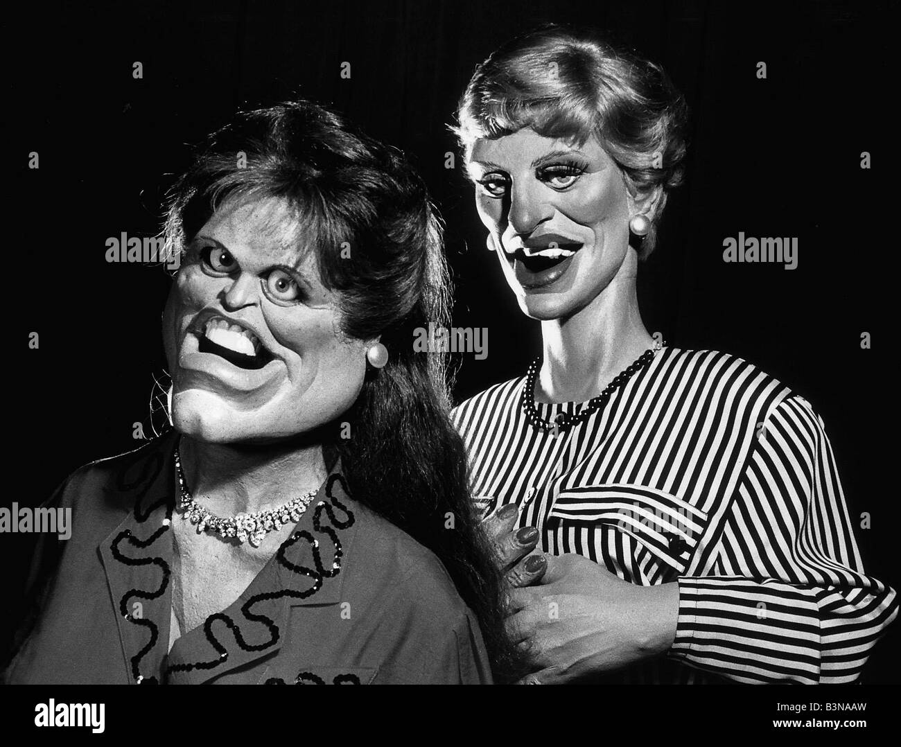 Spitting Image puppet of Duchess of York L and Princess Diana R portrayed in latex by Fluck and Law for the Central - Stock Image