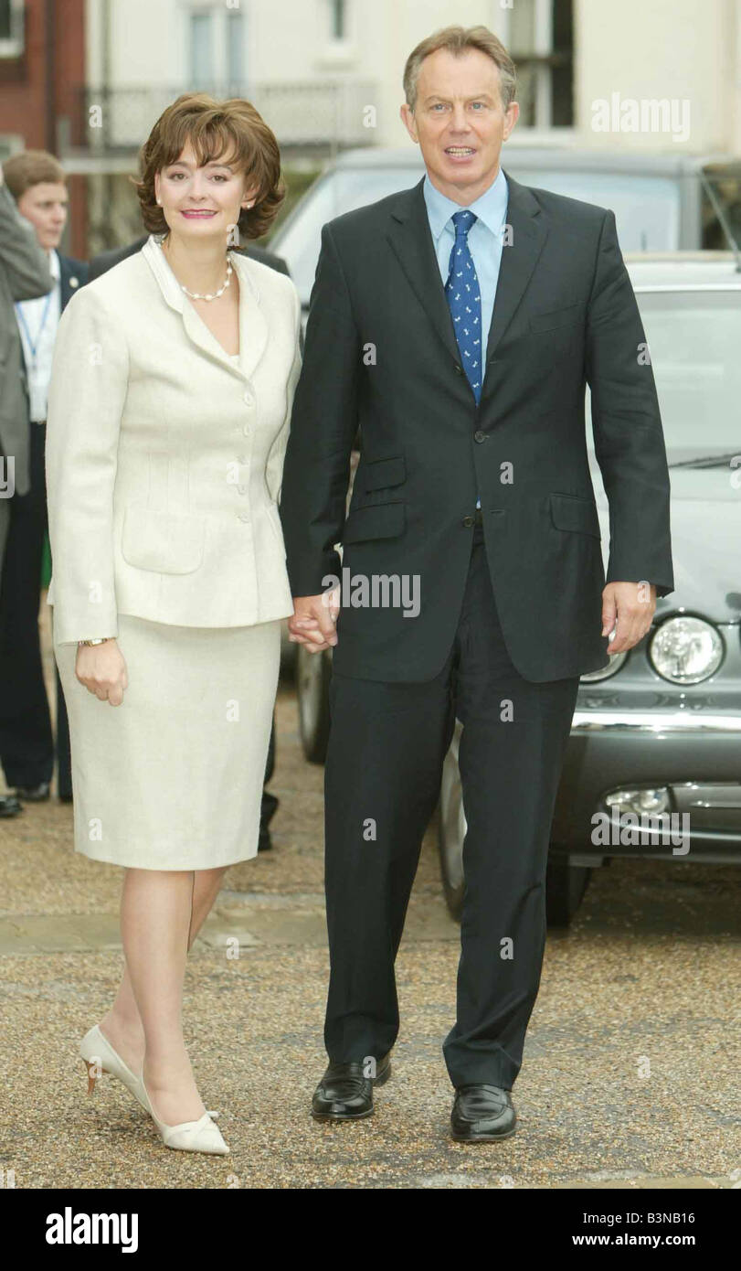 Tony Blair leaving St Peter s Church Brighton with his wife Cherie September 2004 - Stock Image